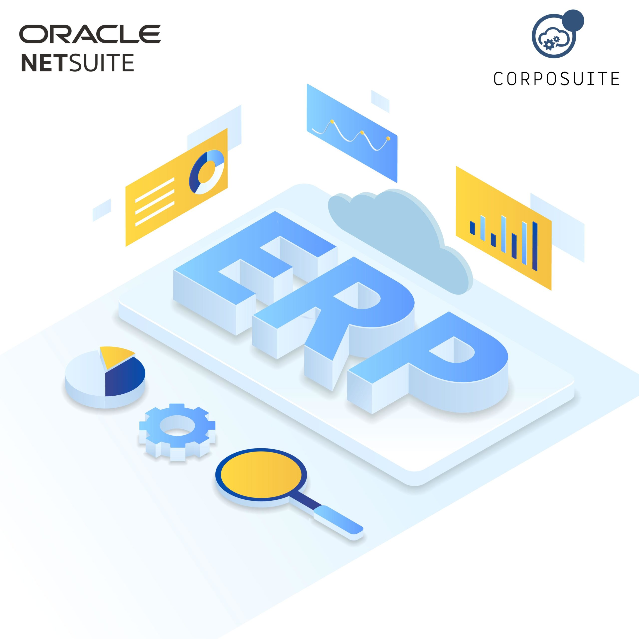ERP Enterprise resource planning illustration isometric style
